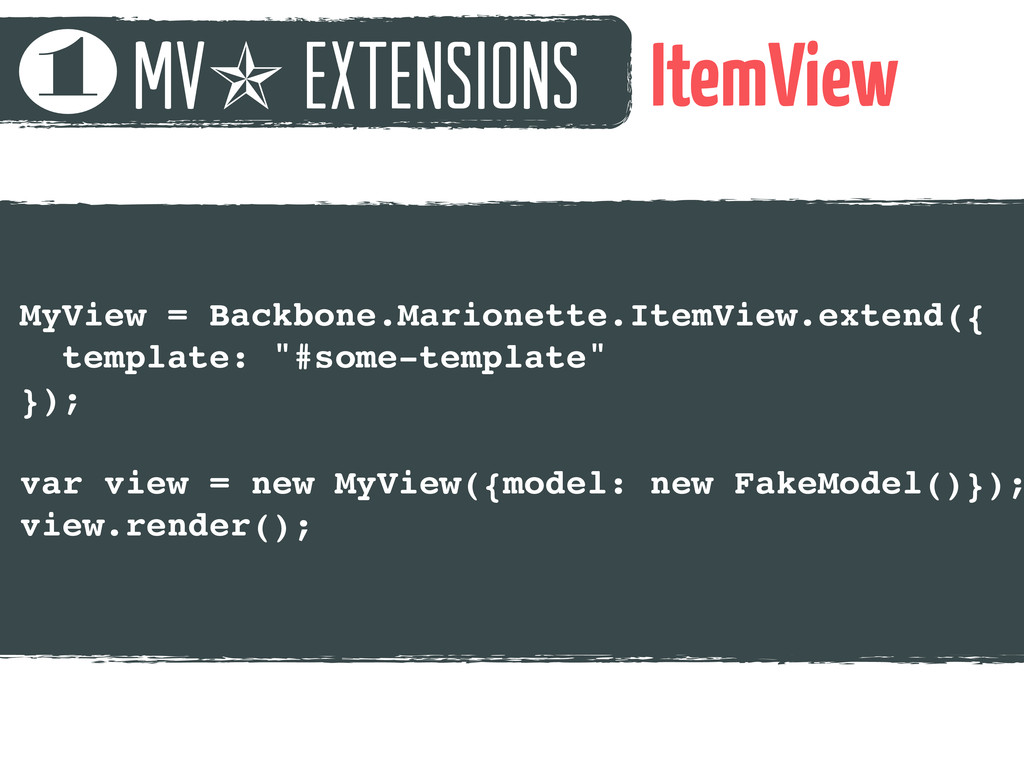 mv✯ extensions 1 ItemView MyView = Backbone.Mar...