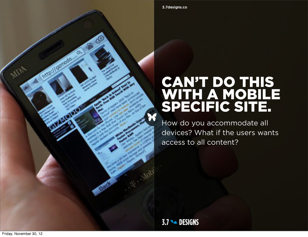 CAN'T DO THIS WITH A MOBILE SPECIFIC SITE. How ...