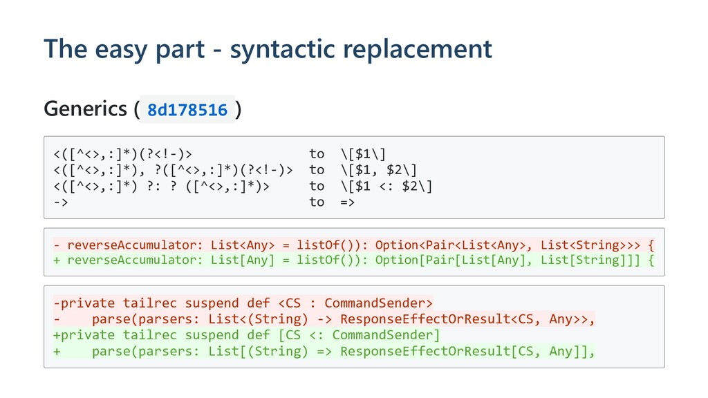 The easy part - syntactic replacement Generics ...