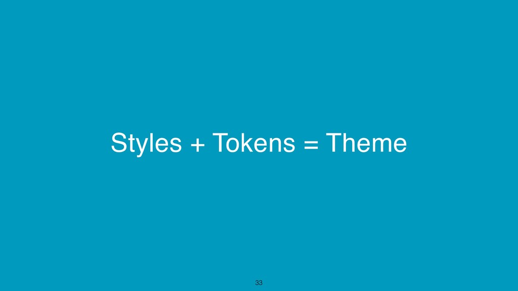 Styles + Tokens = Theme 33