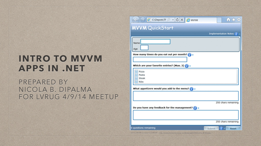 INTRO TO MVVM APPS IN .NET PREPARED BY NICOLA B...
