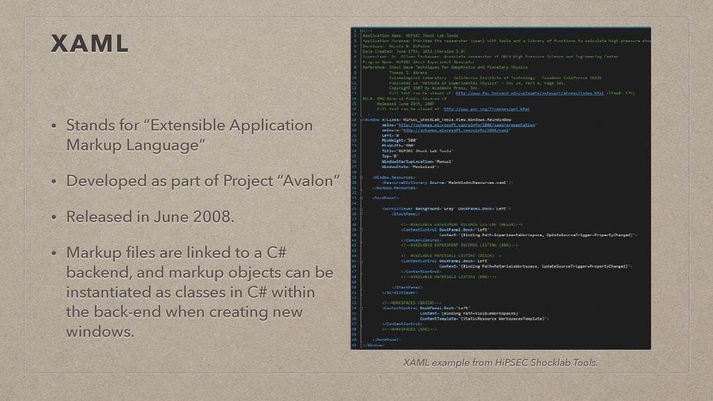 "XAML • Stands for ""Extensible Application Marku..."