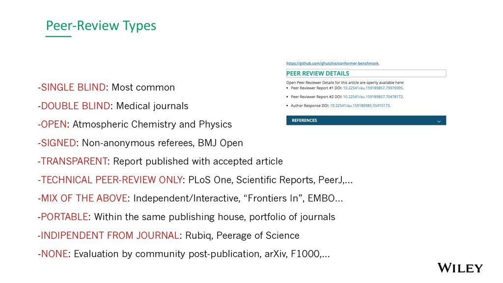Peer-Review Types -SINGLE BLIND: Most common -D...