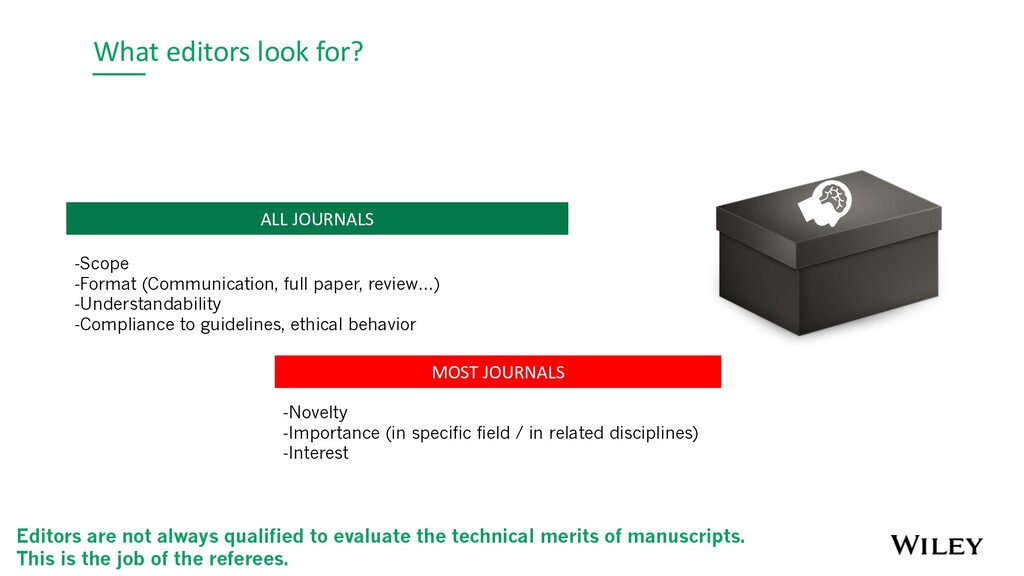 What editors look for? MOST JOURNALS -Novelty -...