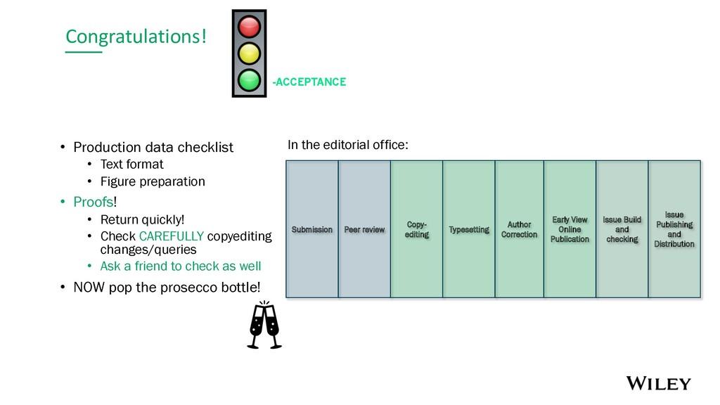 Congratulations! -ACCEPTANCE • Production data ...
