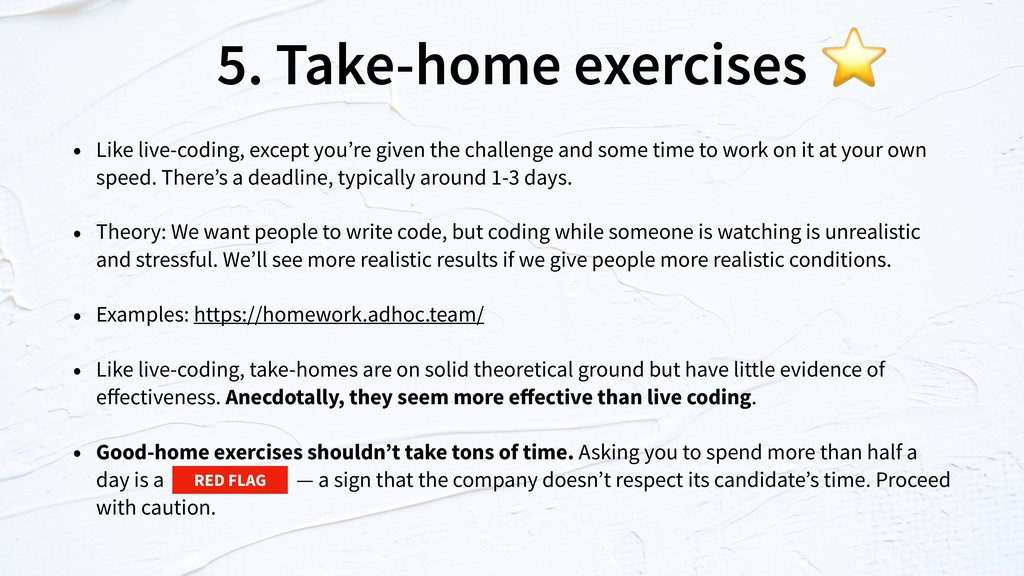 5. Take-home exercises • Like live-coding, exce...