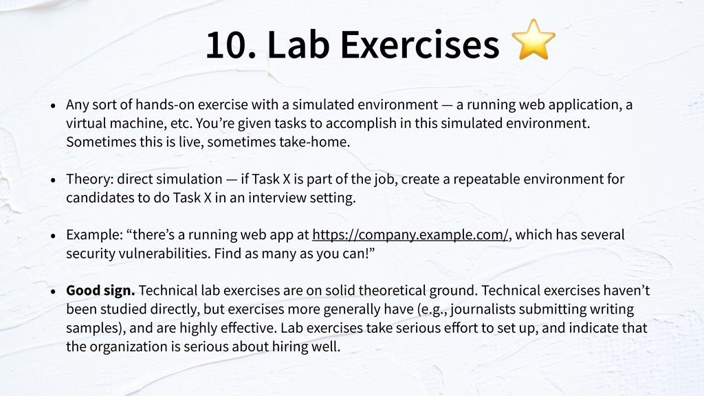 10. Lab Exercises • Any sort of hands-on exerci...
