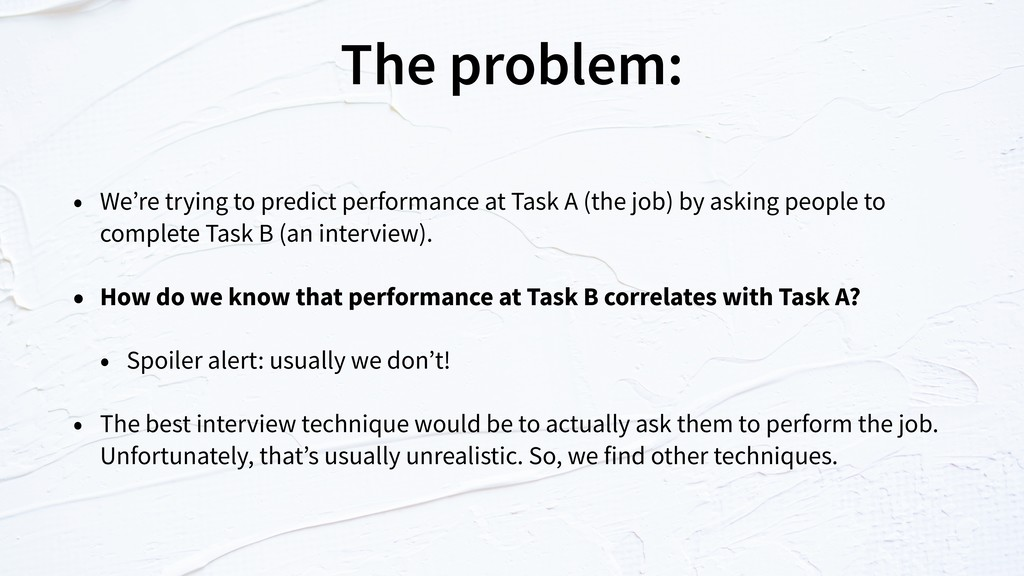 The problem: • We're trying to predict performa...