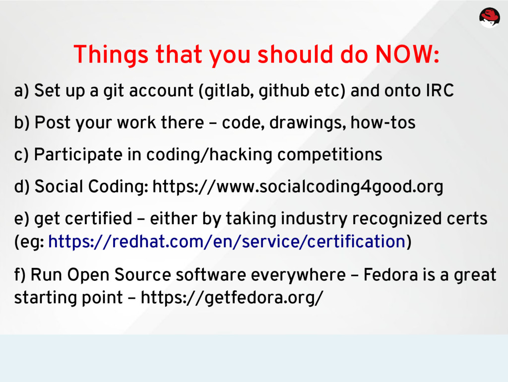 Things that you should do NOW: a) Set up a git ...