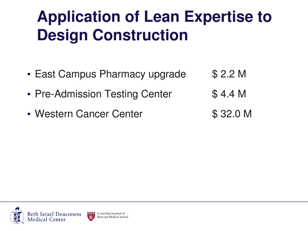 • East Campus Pharmacy upgrade $ 2.2 M • Pre-Ad...