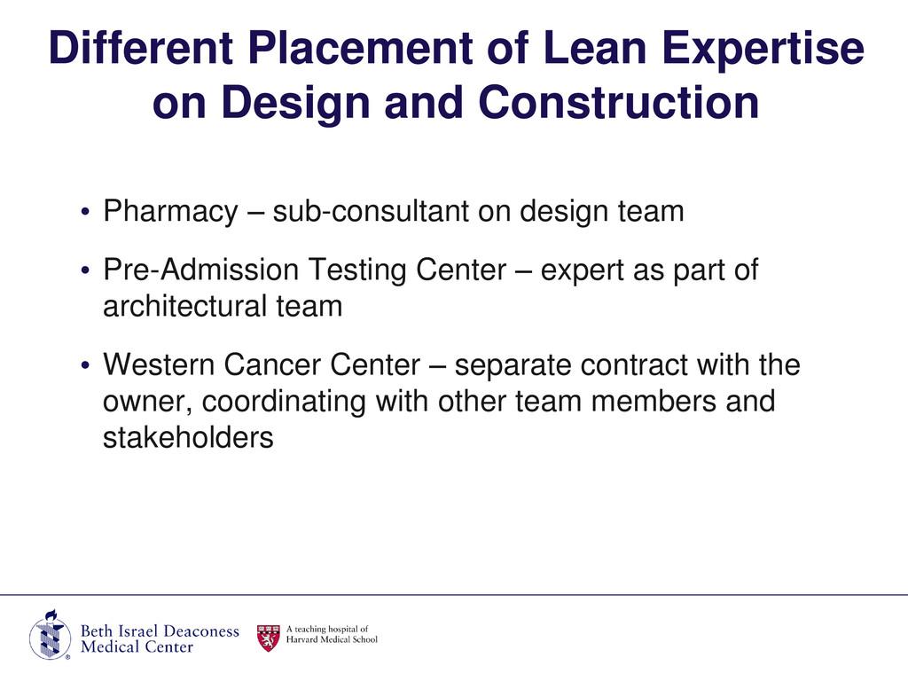 • Pharmacy – sub-consultant on design team • Pr...