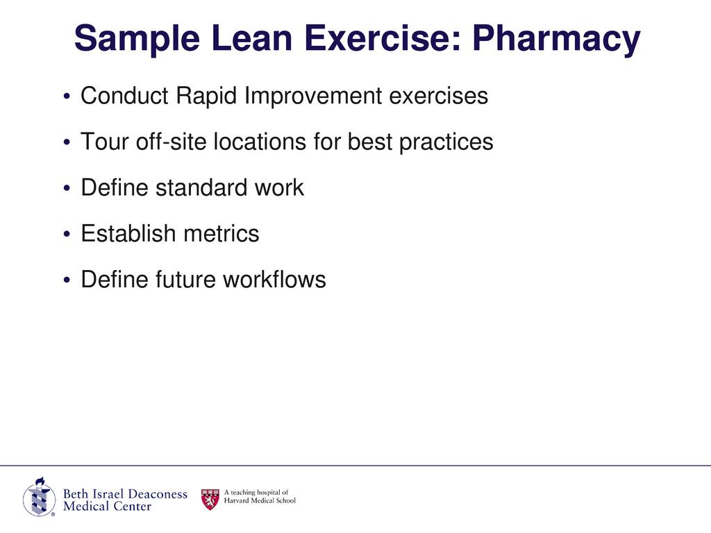 • Conduct Rapid Improvement exercises • Tour of...