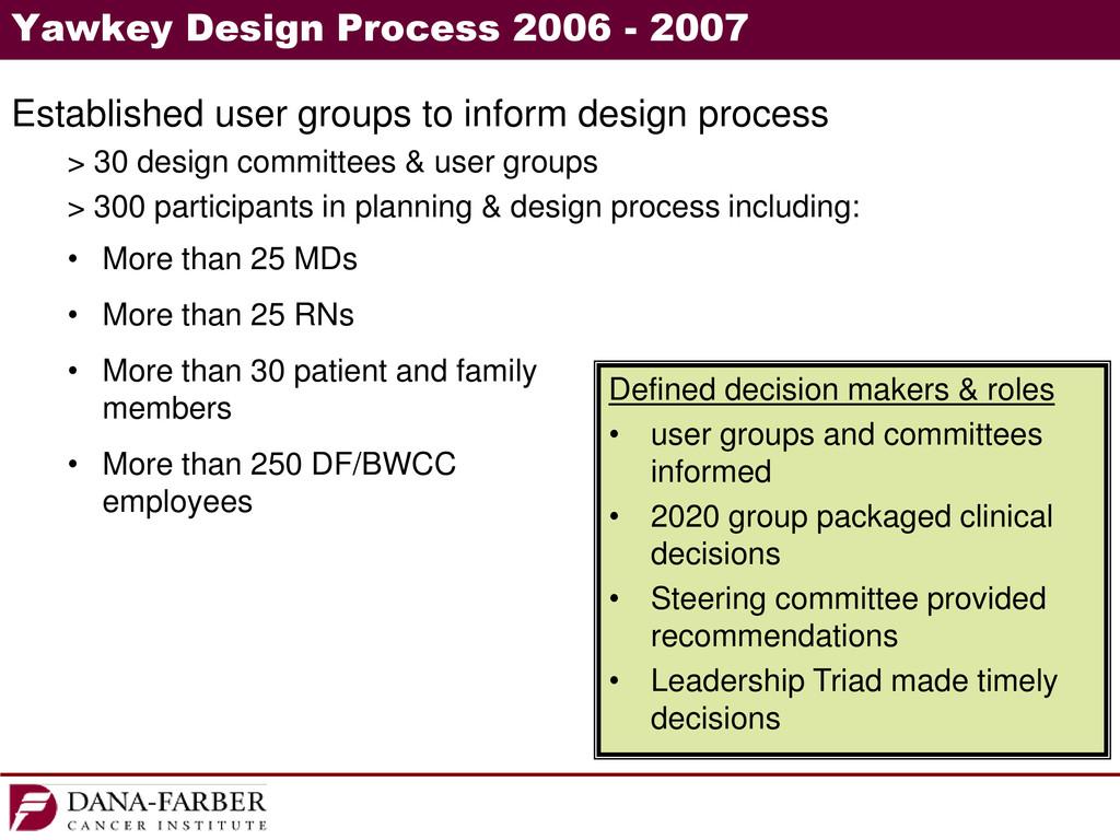 Yawkey Design Process 2006 - 2007 Established u...