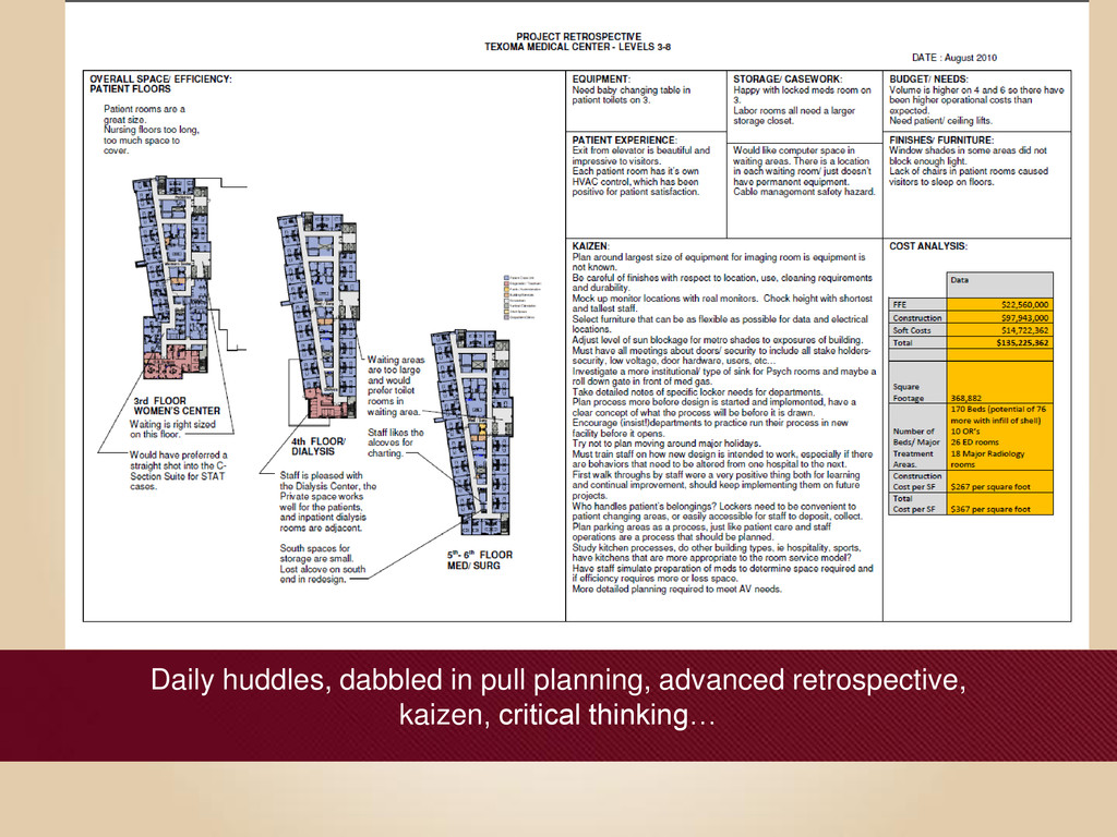 Daily huddles, dabbled in pull planning, advanc...