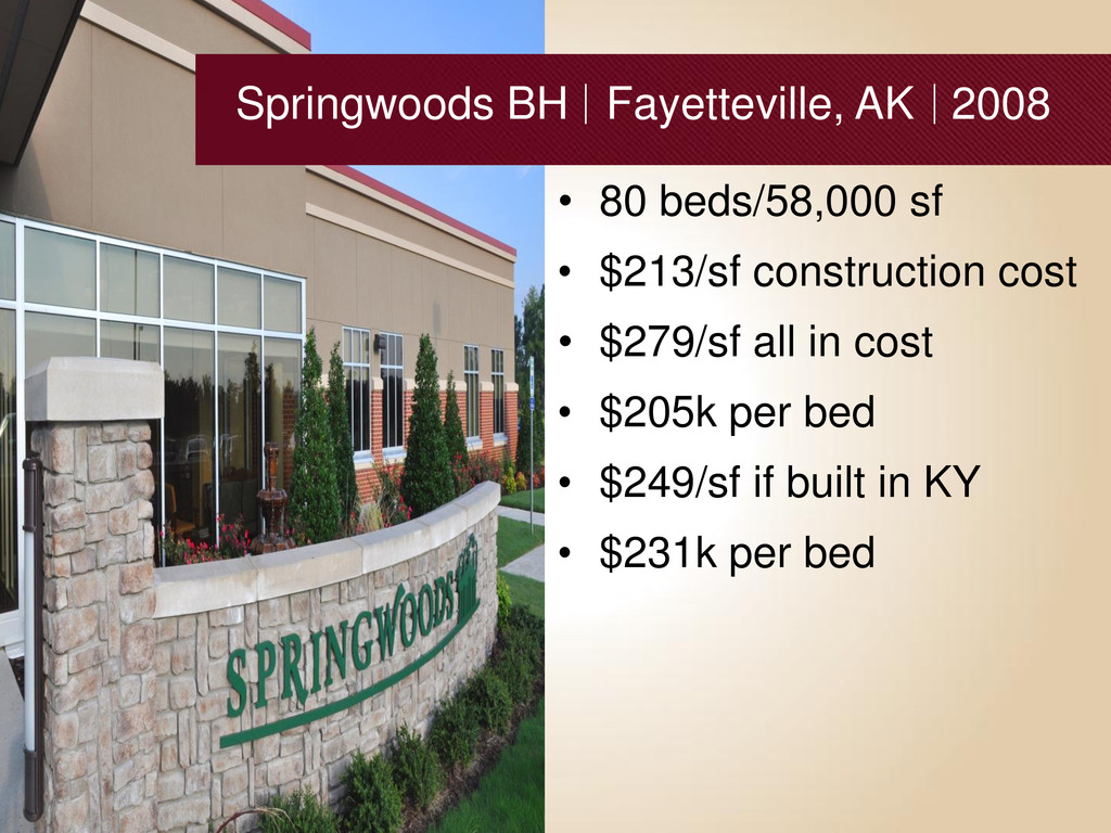 • 80 beds/58,000 sf • $213/sf construction cost...