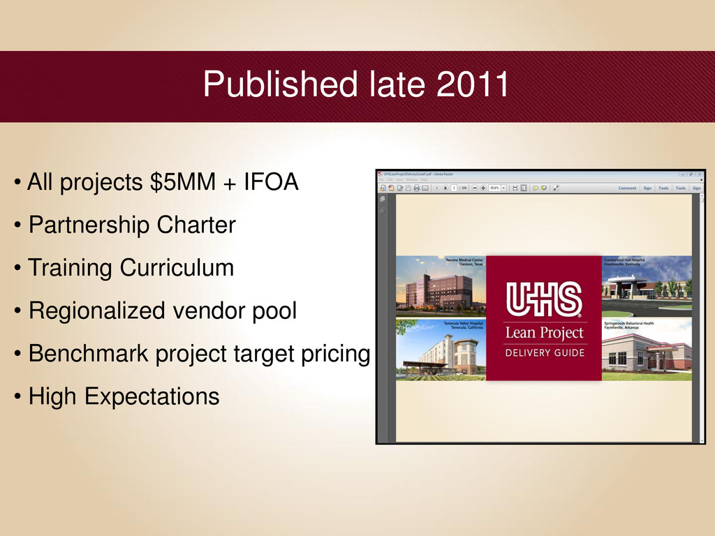 Published late 2011 • All projects $5MM + IFOA ...