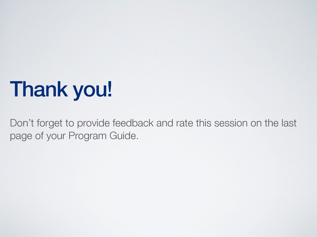 Thank you! Don't forget to provide feedback and...