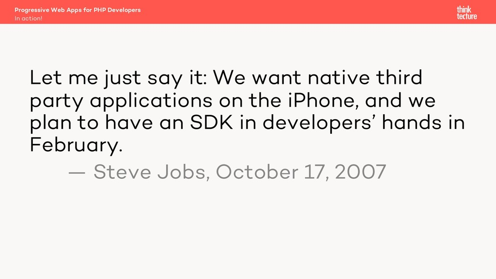 Let me just say it: We want native third party ...