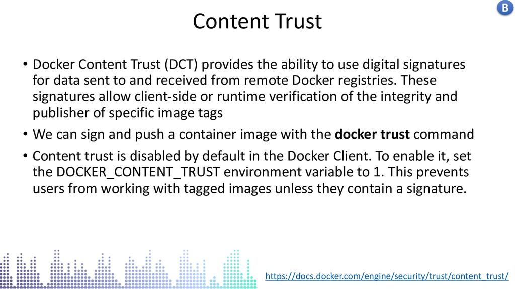 Insecure docker socket service Content Trust B ...