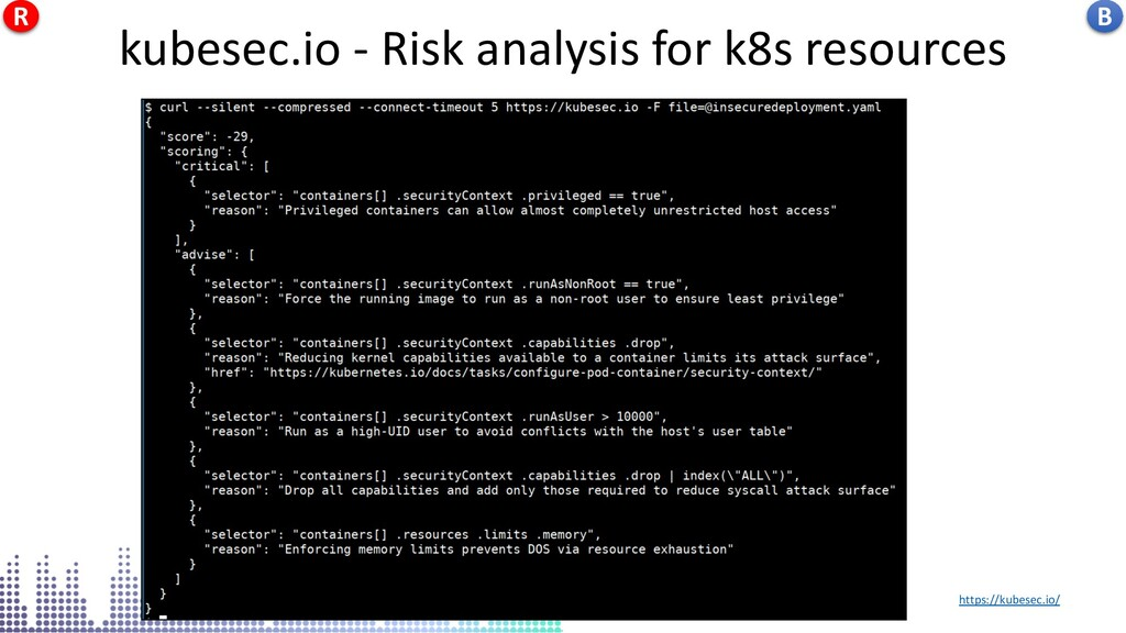kubesec.io - Risk analysis for k8s resources ht...
