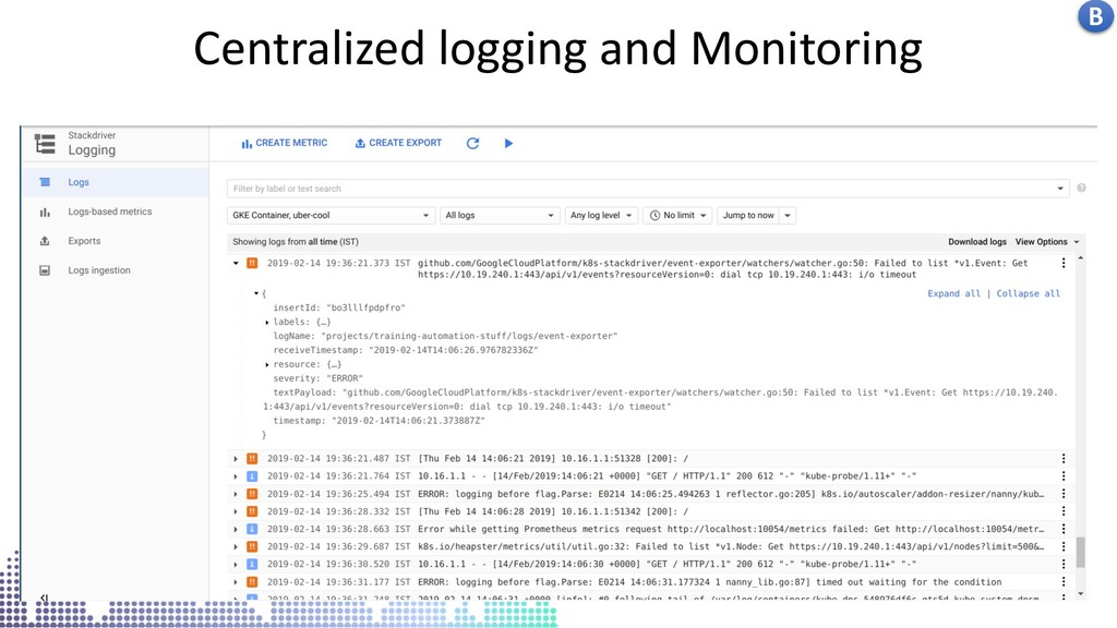 Kubernetes centralised logs in stack driver Cen...