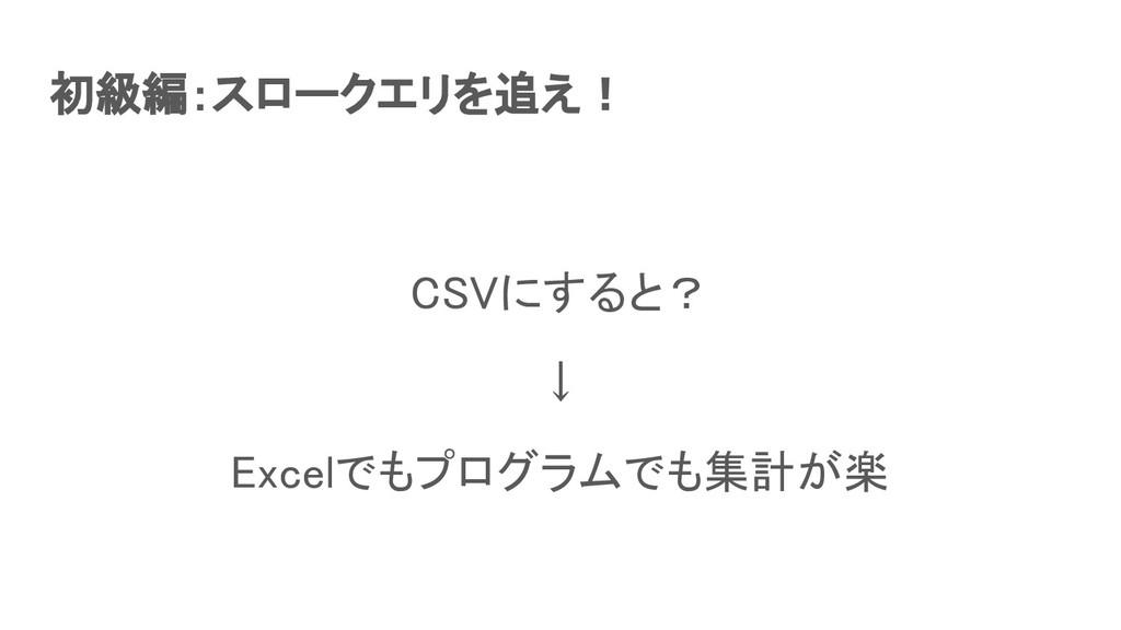 初級編:スロークエリを追え! CSVにすると? ↓ Excelでもプログラムでも集計が楽