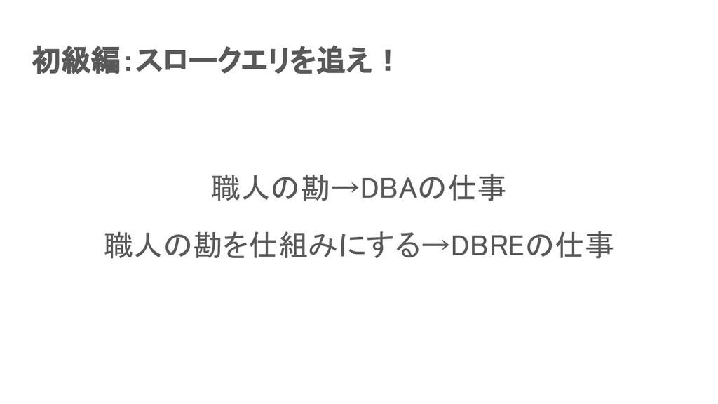初級編:スロークエリを追え! 職人の勘→DBAの仕事 職人の勘を仕組みにする→DBREの仕...