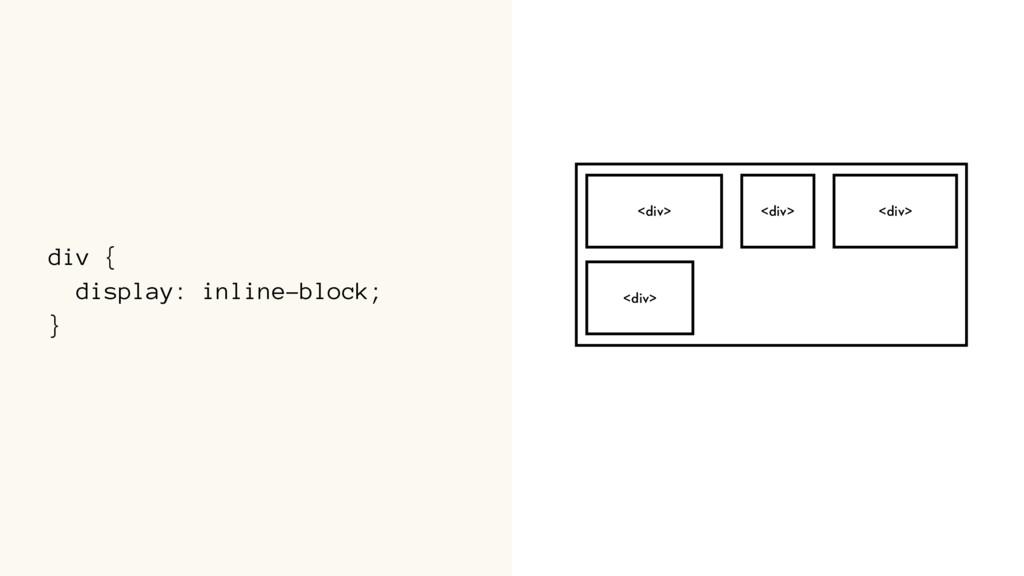 div { display: inline-block; } <div> <div> <div...