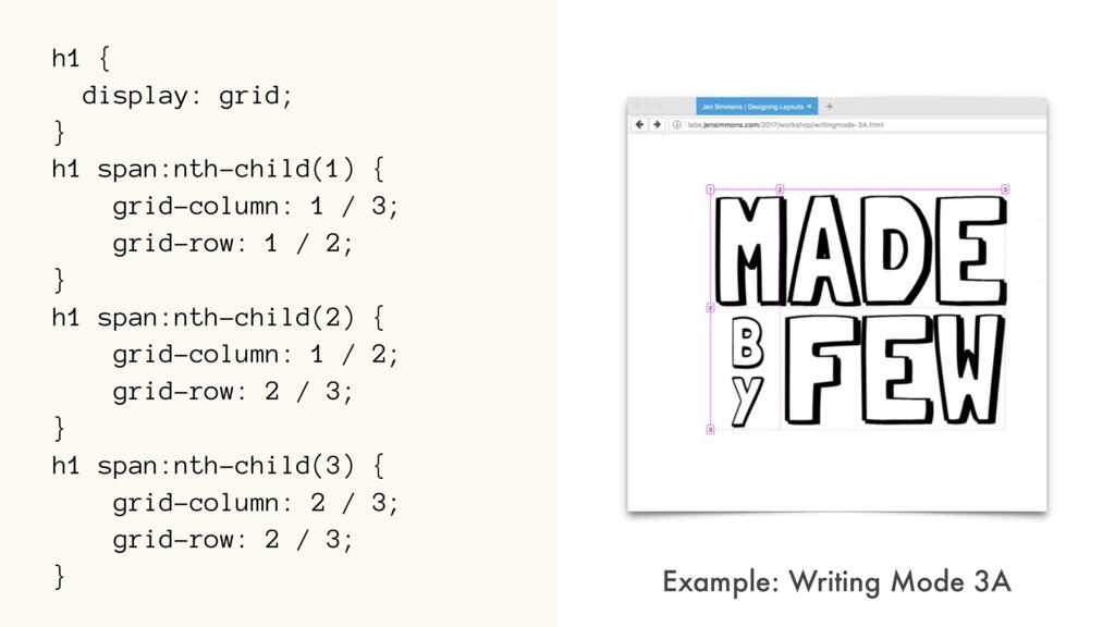 h1 { display: grid; } h1 span:nth-child(1) { gr...