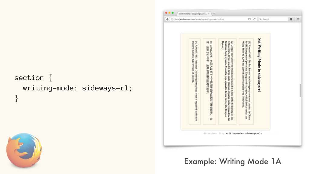 section { writing-mode: sideways-rl; } Example:...
