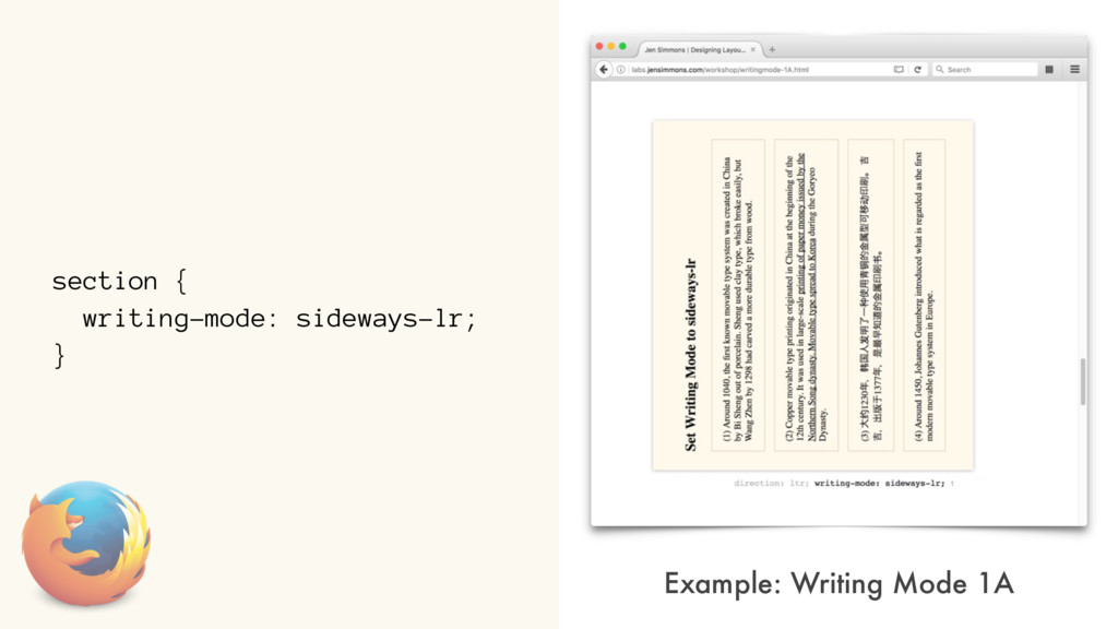 section { writing-mode: sideways-lr; } Example:...