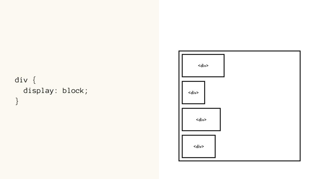 div { display: block; } <div> <div> <div> <div>