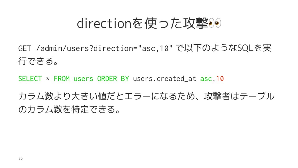 "directionを使った攻撃 GET /admin/users?direction=""asc..."