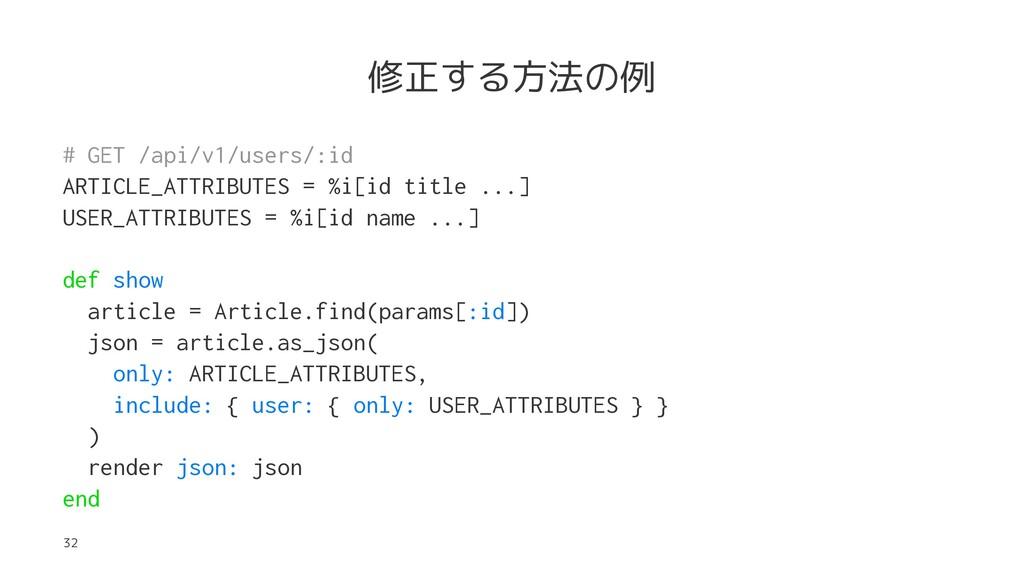 修正する方法の例 # GET /api/v1/users/:id ARTICLE_ATTRIB...