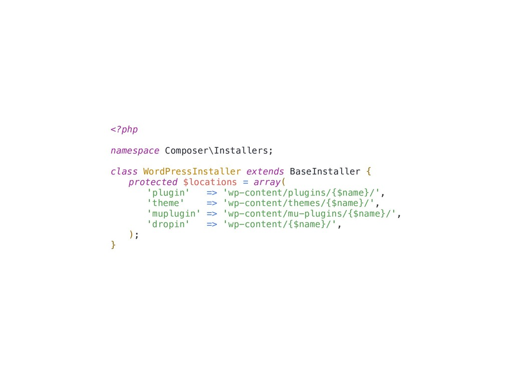 <?php namespace Composer\Installers; class Word...