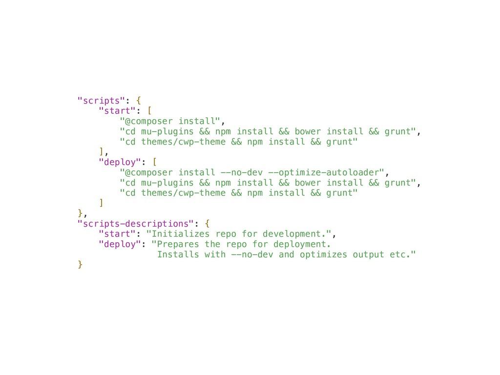 """scripts"": { ""start"": [ ""@composer install"", ""c..."