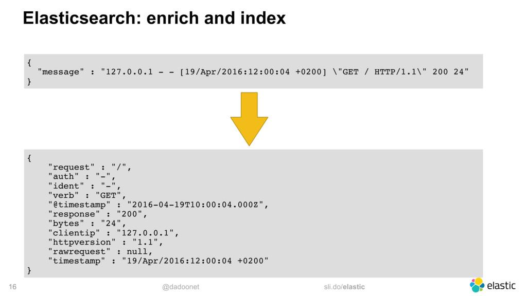 @dadoonet sli.do/elastic 16 Elasticsearch: enri...