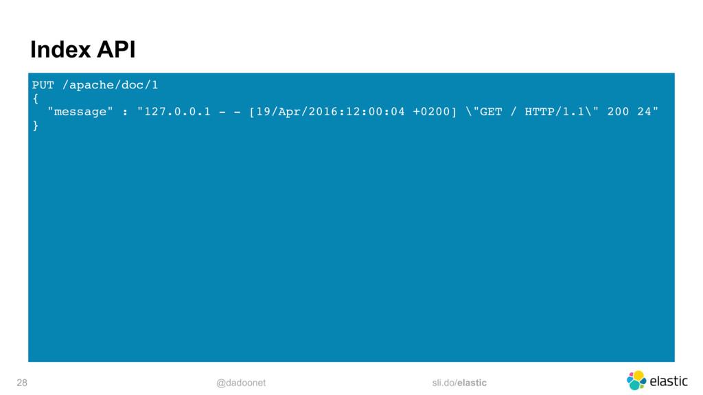 @dadoonet sli.do/elastic Index API PUT /apache/...