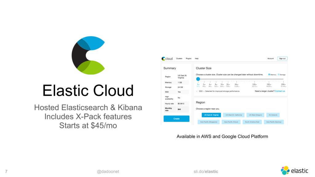 @dadoonet sli.do/elastic 7 Elastic Cloud Hosted...