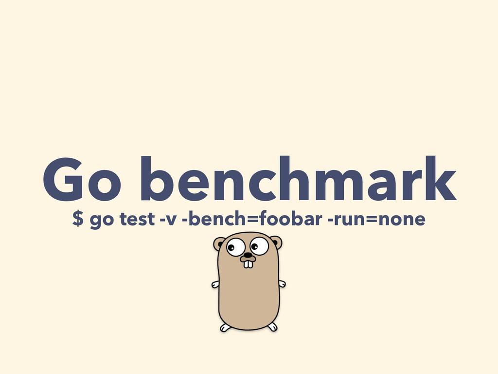 Go benchmark $ go test -v -bench=foobar -run=no...