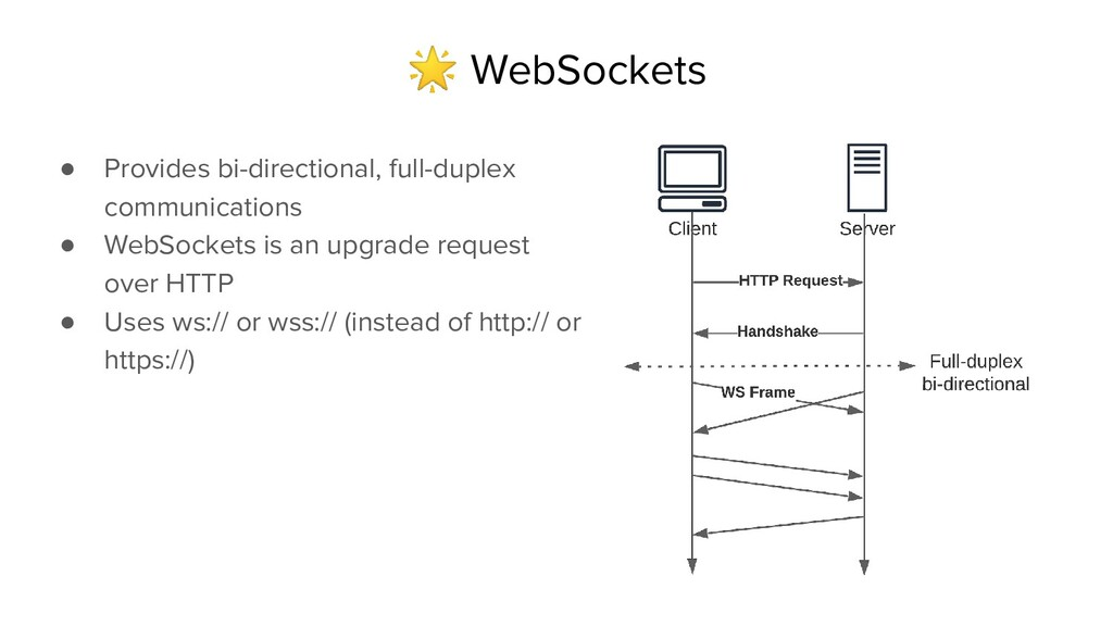 WebSockets ● Provides bi-directional, full-dup...