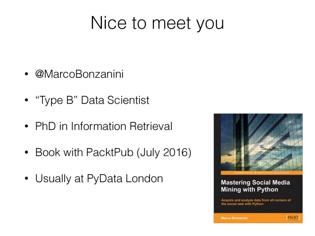 "Nice to meet you • @MarcoBonzanini • ""Type B"" D..."