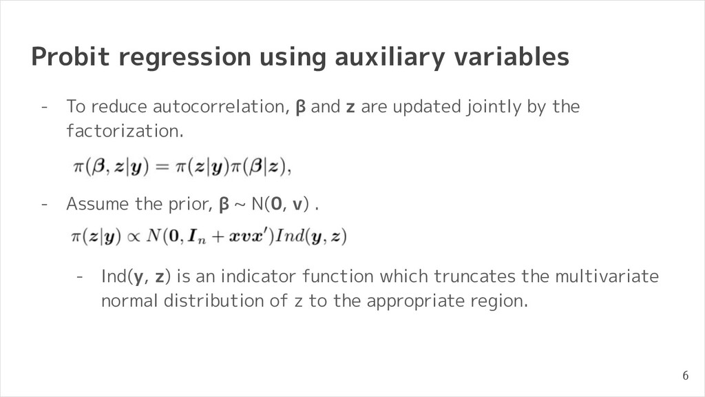 Probit regression using auxiliary variables - T...