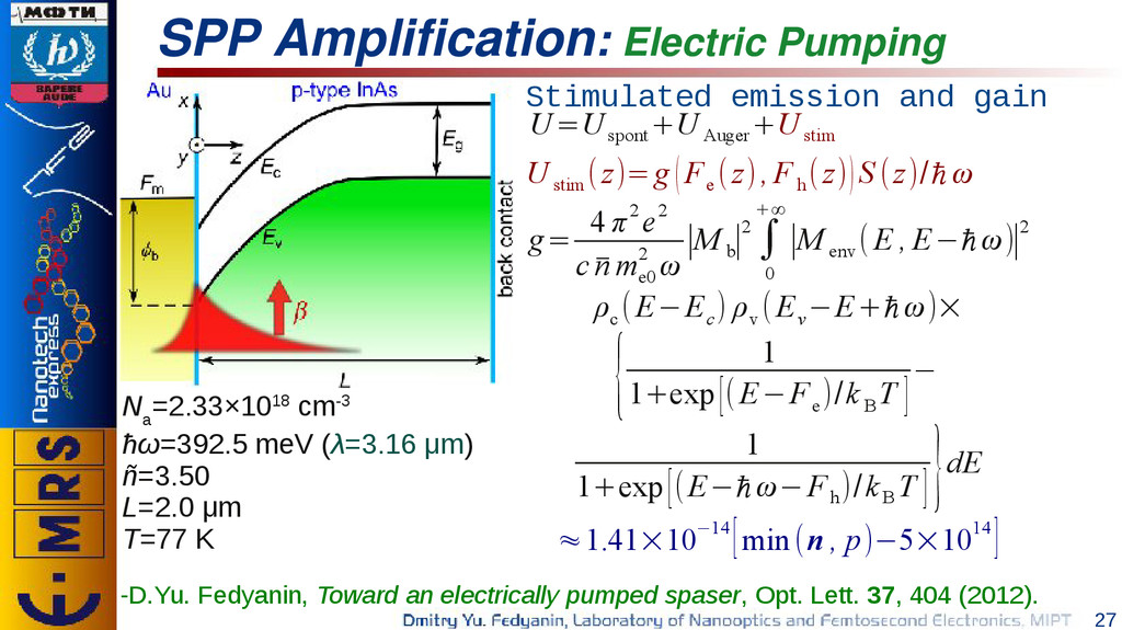 27 SPP Amplification: Electric Pumping g= 4 π2 ...