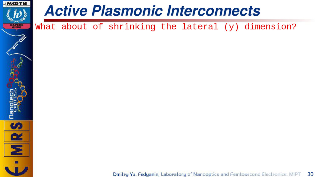 30 Active Plasmonic Interconnects What about of...