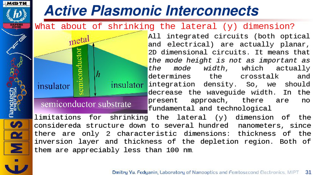 31 Active Plasmonic Interconnects What about of...