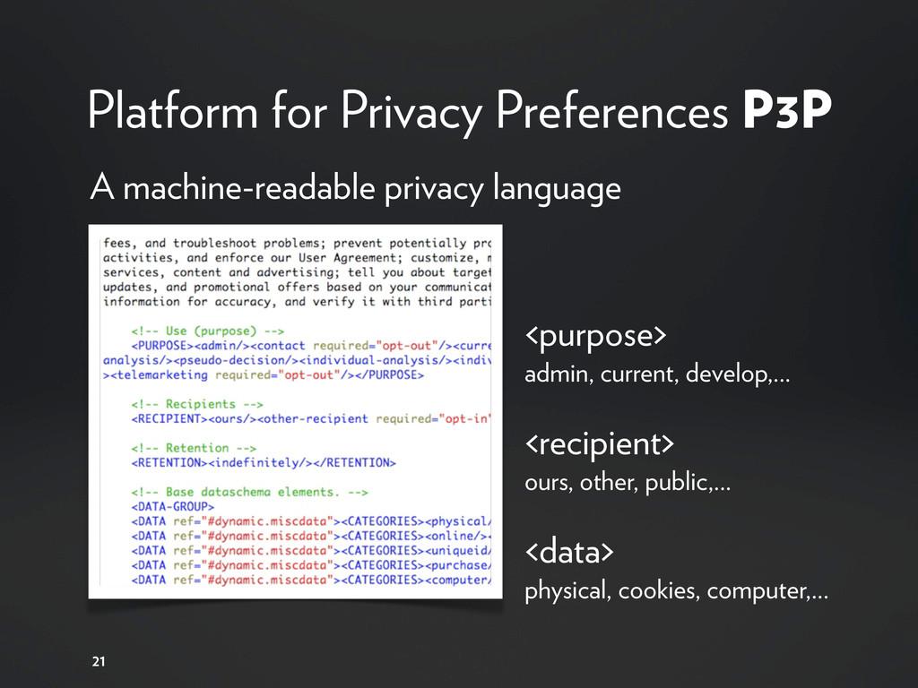 Platform for Privacy Preferences P3P 21 A machi...