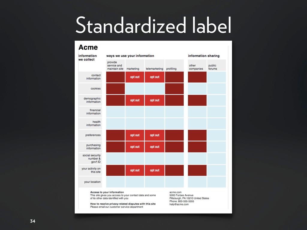 Standardized label 34
