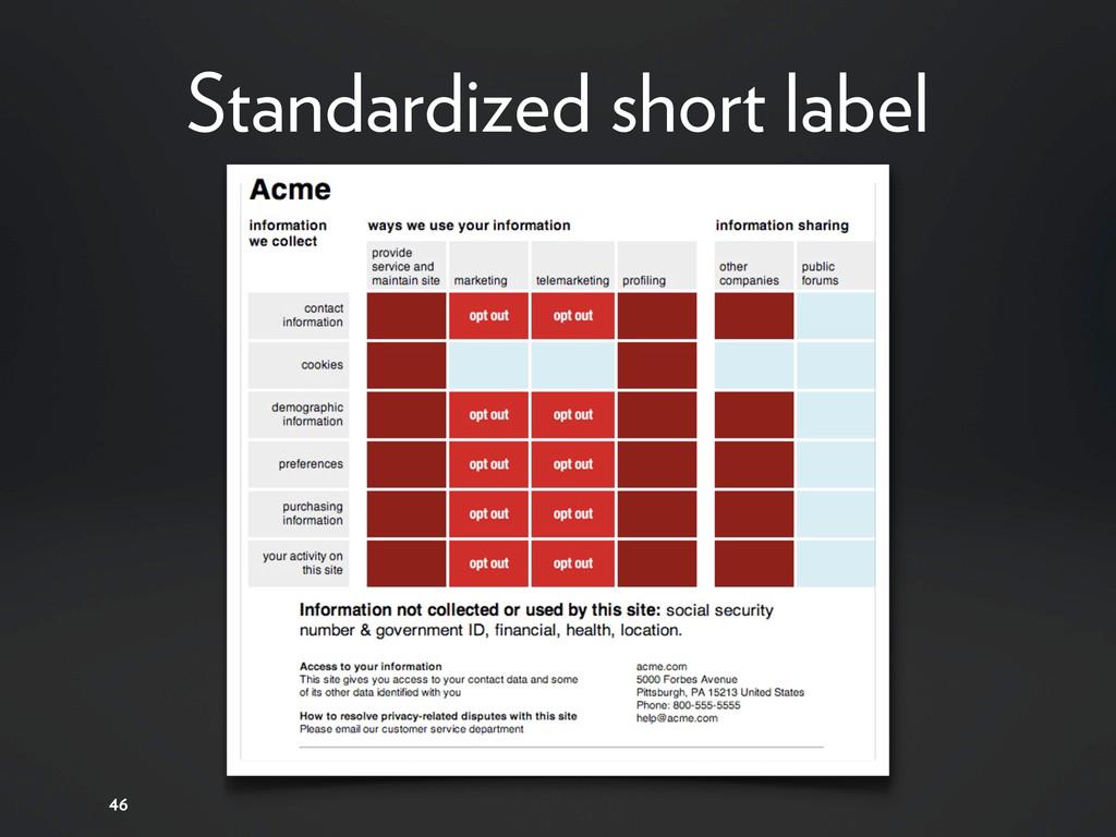 Standardized short label 46
