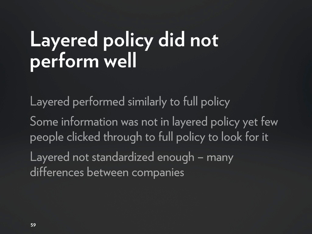 Layered policy did not perform well Layered per...